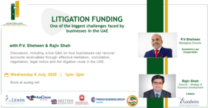 Joint Webinar - Litigation Funding - One of the biggest challenges faced by businesses in the UAE, July 8, 2020